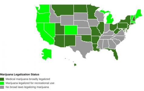 The map above depicts the state of marijuana legislation across the nation.