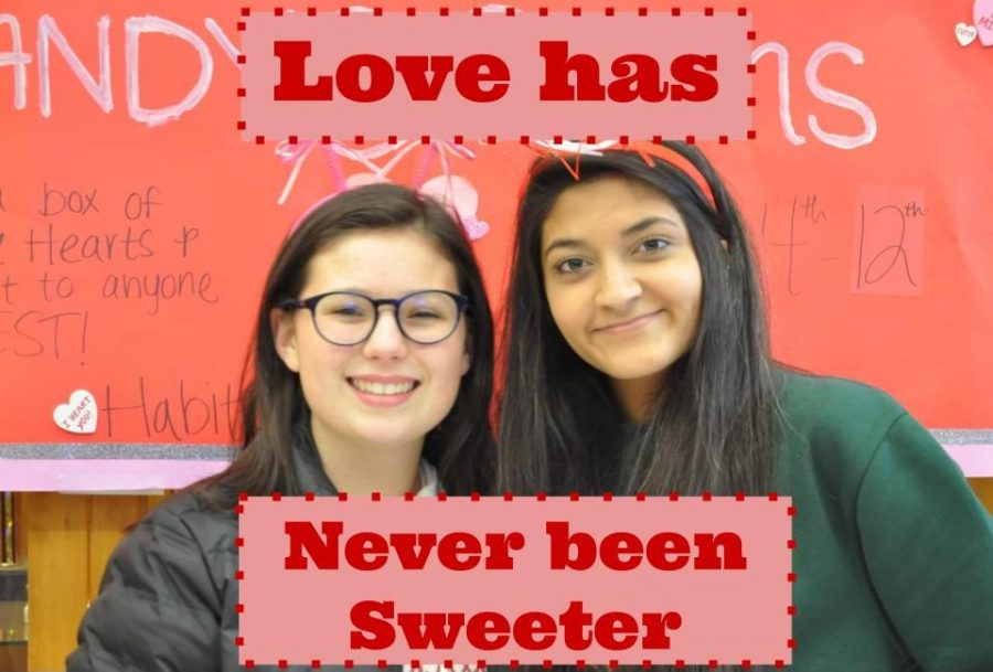 President+Sydney+Shofner+and+Hira+Mien+selling+candygrams.+The+club+has+begun+selling+the+candy+as+a+way+to+raise+money+for+their+projects.