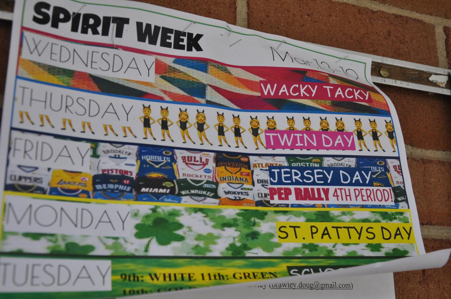 Spirit Week is in full swing with posters hanging all around the school detailing the theme for each day.
