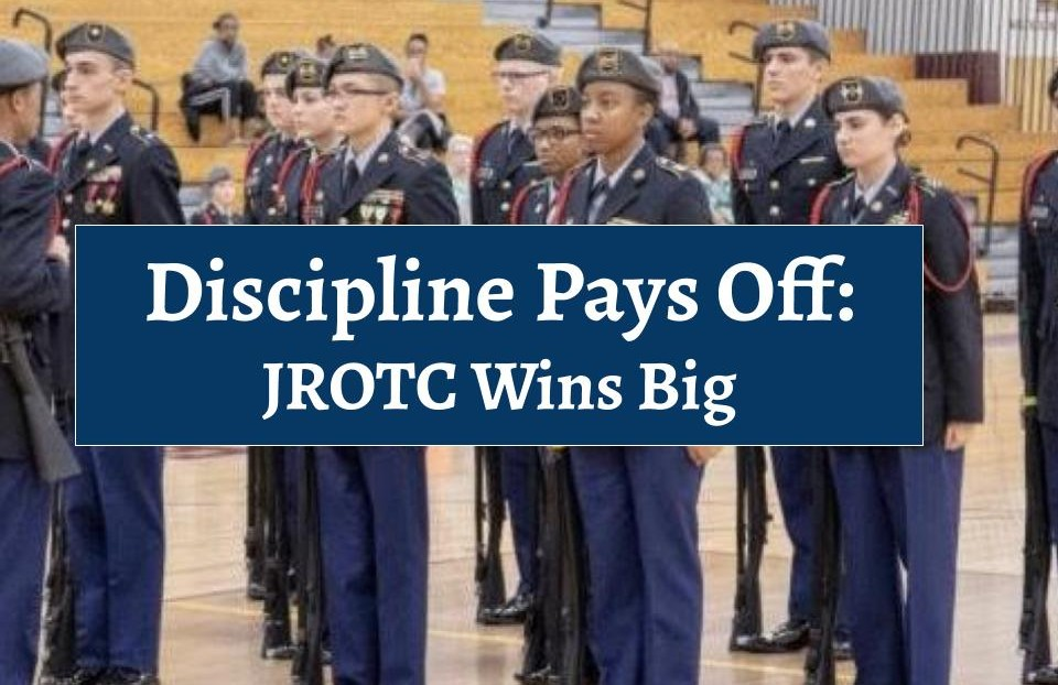 The JROTC program at their most recent competition. The West chapter has enjoyed big wins this year.