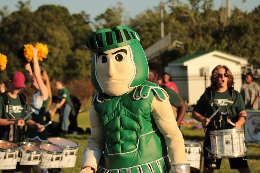 The Titan struts his stuff at the Titan Tailgate on Sept. 6. The Tailgates give the opportunity for fellow titans to come together and celebrate West.