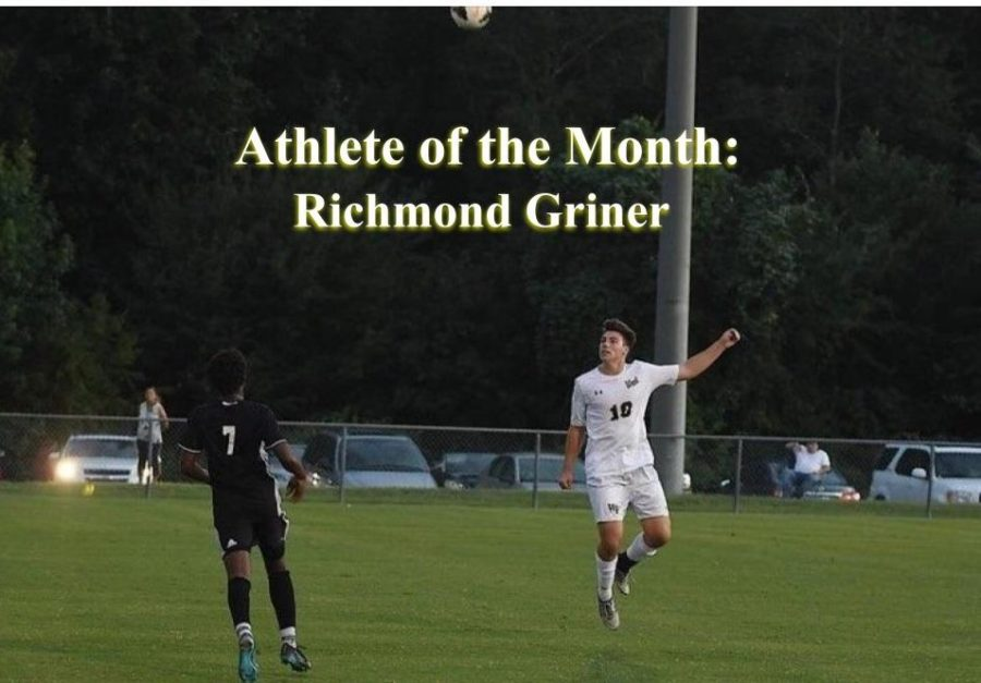 Richmond Griner heads the ball during a game. Through hard work and dedication, Griner has become a valuable member of the men's soccer team.