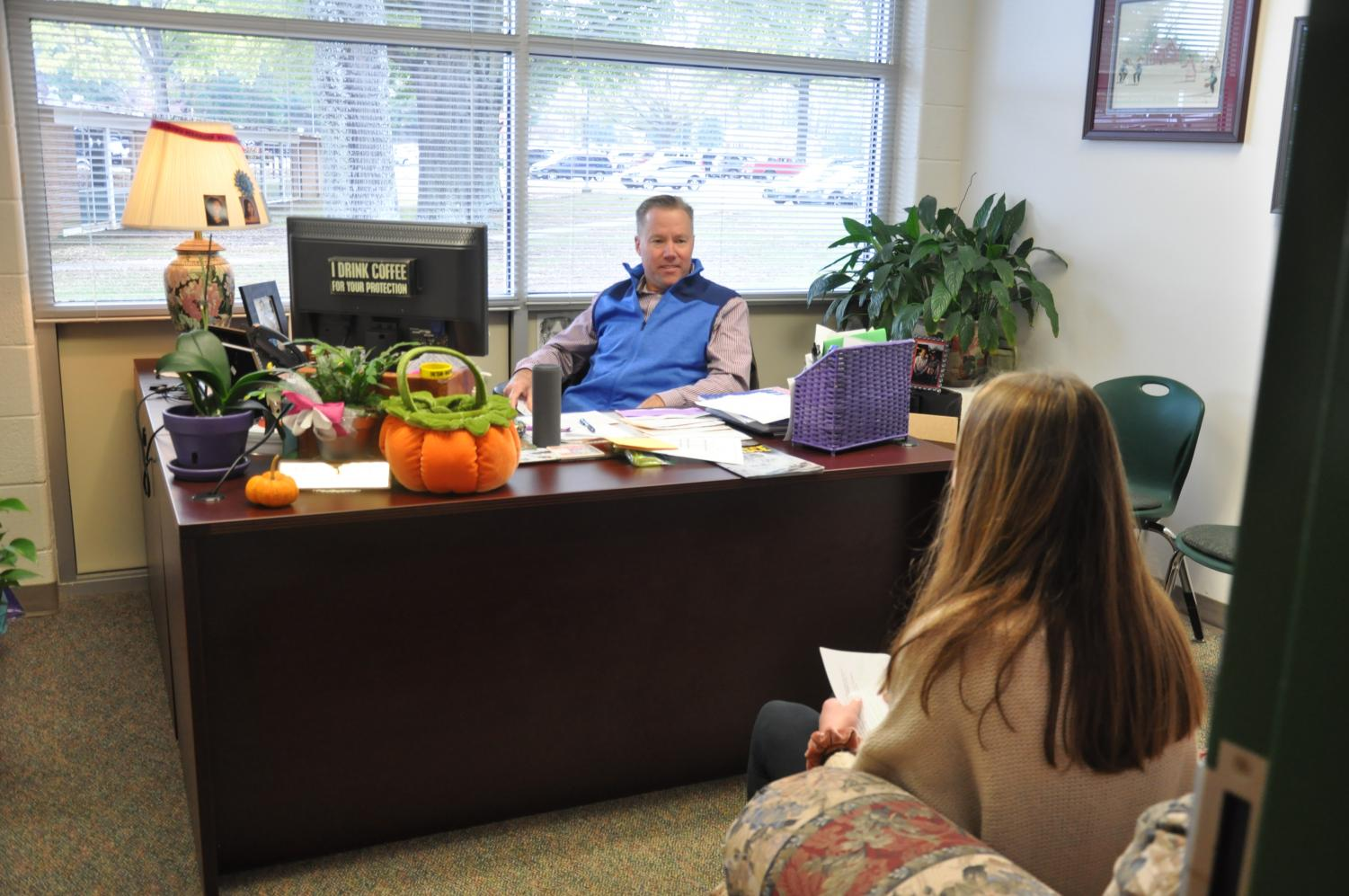 A student seeks guidance from counselor David Small. There are numerous resources at the disposal of students at West Forsyth.