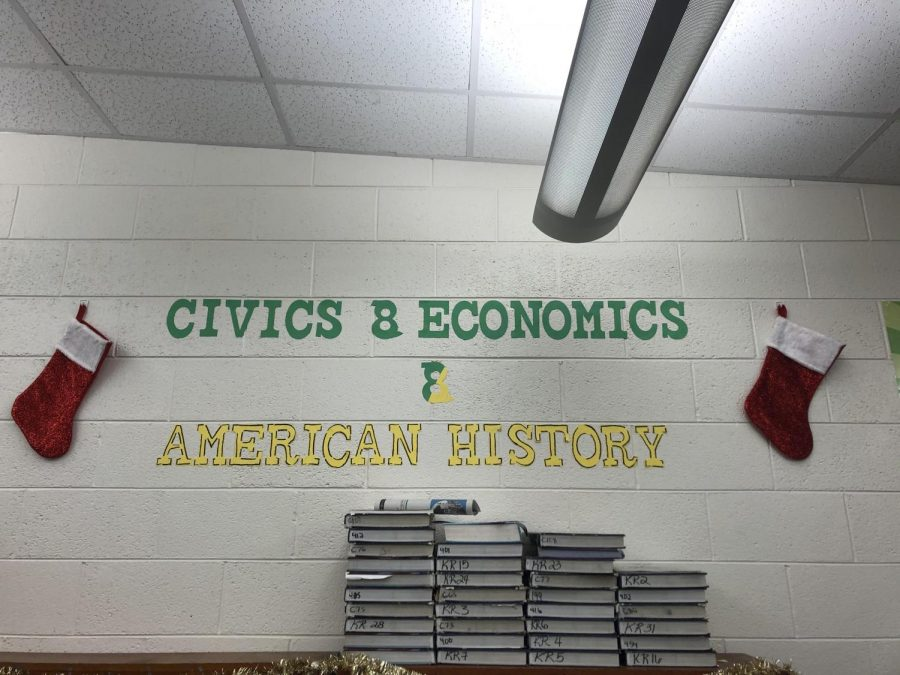 Katherine Dykeman's classroom has been carefully decorated to raise school spirit. Other classrooms should decorate to raise student spirits.