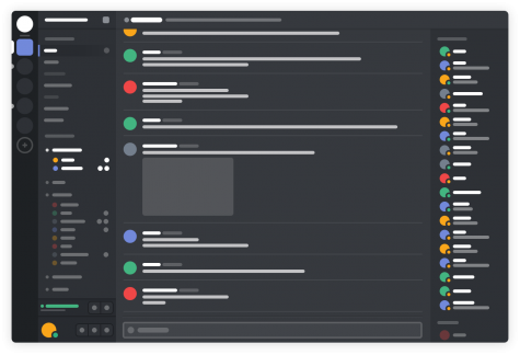 A basic outline of Discord, a chatroom application often used to talk about, stream and play video games.