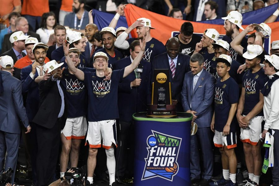 The University of Virginia celebrates their championship at the end of last year's tournament. The Cavaliers were favorites in many people's brackets last year.