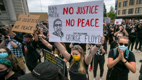 Protesters are seen demanding justice for George Floyd in Portland, Maine days after his death.