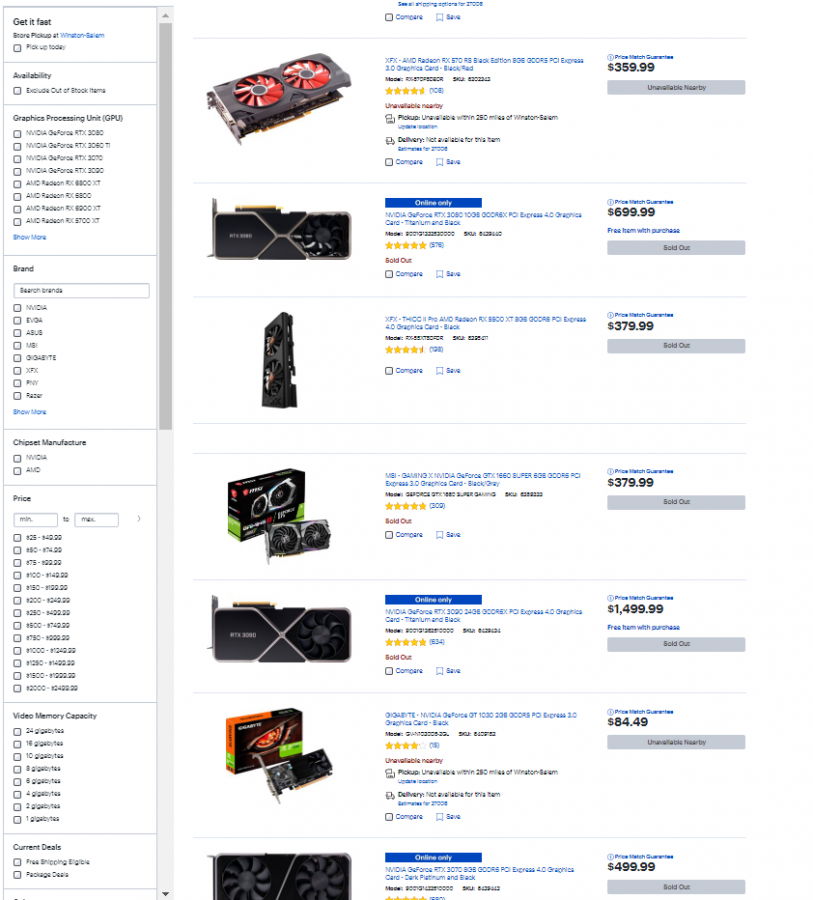 A quick look at the Best Buy website shows that all the decent graphics cards are sold out.