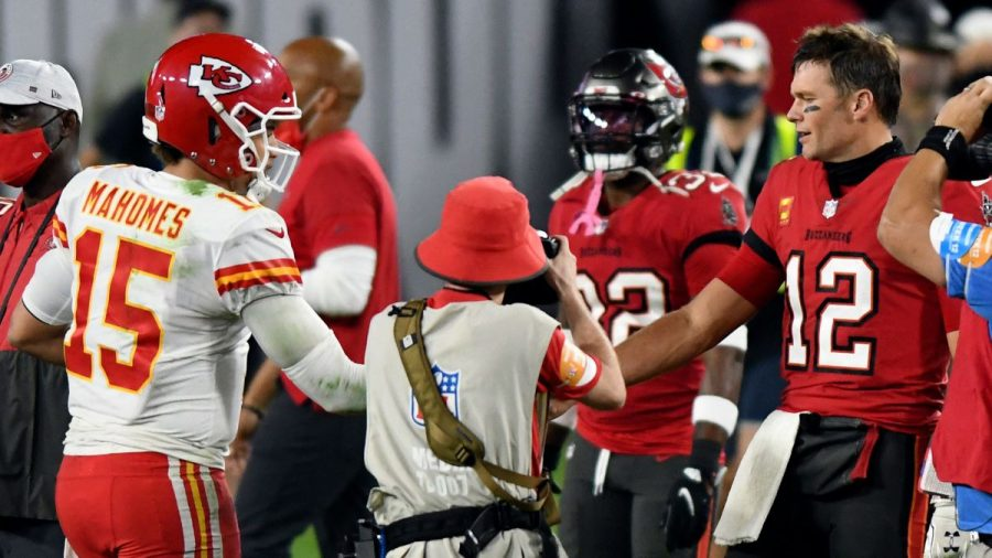 Star quarterbacks Patrick Mahomes (Left) and Tom Brady (Right) shake hands after their game in week 12. The Chiefs won their previous meeting 27-24, but now the two teams will meet to decide the champions of the NFL.