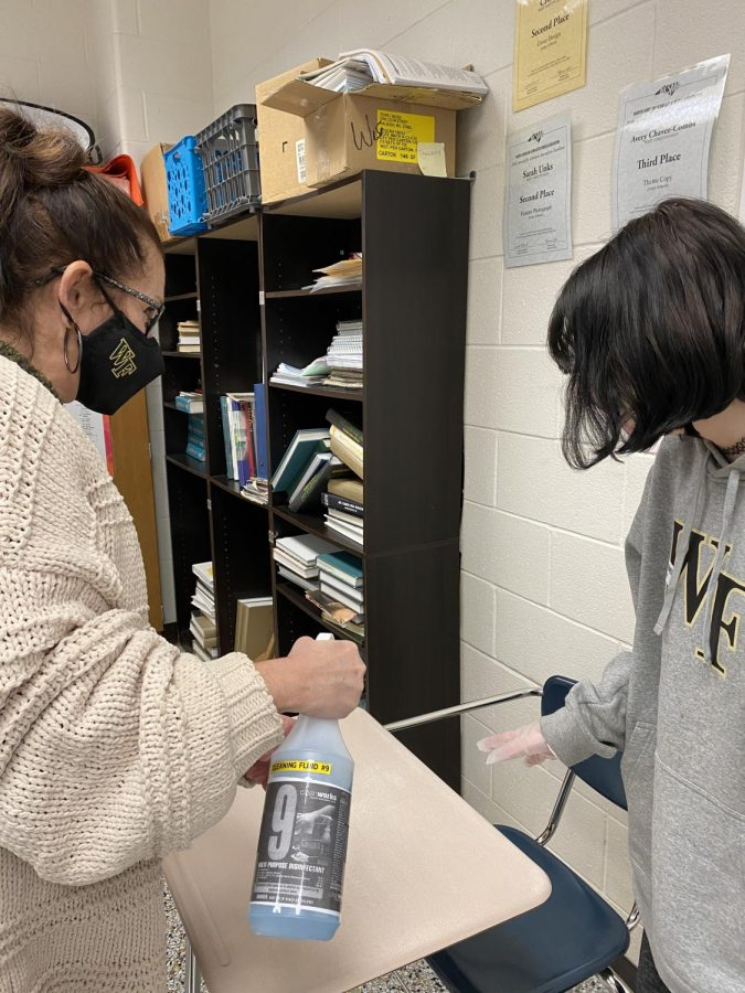 Multipurpose Disinfectant No. 9 is used by students and teachers on a daily basis. Teachers are told to spray it onto students' desks, allowing the students to wipe it off themselves.