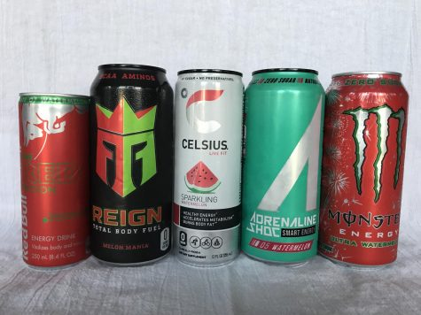Every brand of Watermelon Energy drinks that was tried for this article.
