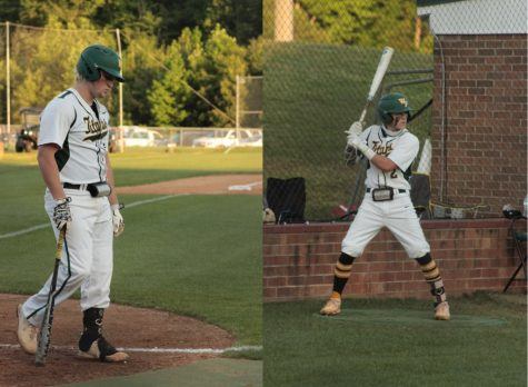Left: Senior and UNC-Greensboro commit, Banks Cox, walks up to the plate to the song, Bad to the Bone by George Thorogood and the Destroyers. Right: Junior Reid Withers is ready to hit after hearing his walk-up song Square Dance by Eminem.