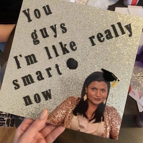 Senior Gabi Jenkins has decorated her cap for graduation. This is the first year seniors have been allowed to decorate their caps.